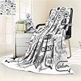 AmaPark Luminous Microfiber Throw Blanket Hand Drawn Set of Speech Bubbles with Dialog Words Hello Love Bye hi Vector Ill Glow in The Dark Constellation Blanket, Soft and Durable Polyester(60''x 50'')
