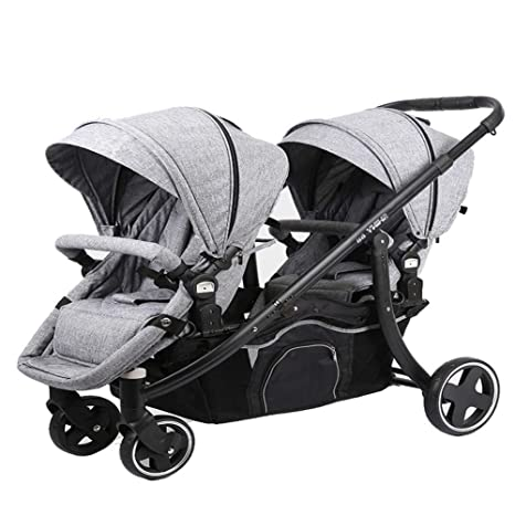 REMTI Sillas de paseo Cochecito de bebé de los gemelos Plegable portátil Siéntese Mentira Dividir Dos