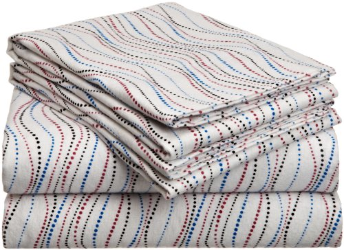 Pointehaven Heavy Weight Printed Flannel Sheet Set, Twin, Metro