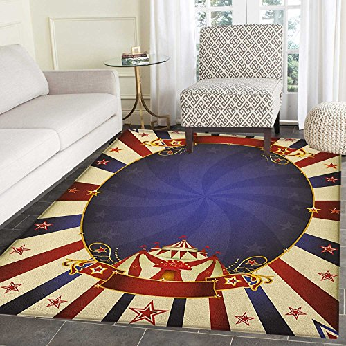 Vintage Area Rug Carpet Circus Theme Retro Carnival Tent Ribbon Figures Poster Like Image Living Dining Room Bedroom Hallway Office Carpet 5'x6' Navy Blue Red Pale (Ribbon Small Poster)