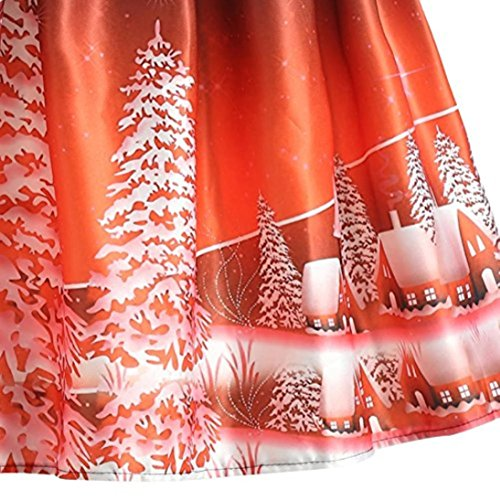 Zarupeng Frauen Retro Weihnachten Gedruckt Kurzarm Reißverschluss Spitze Schaukel Party Kleid Orange P9NCmcDwV