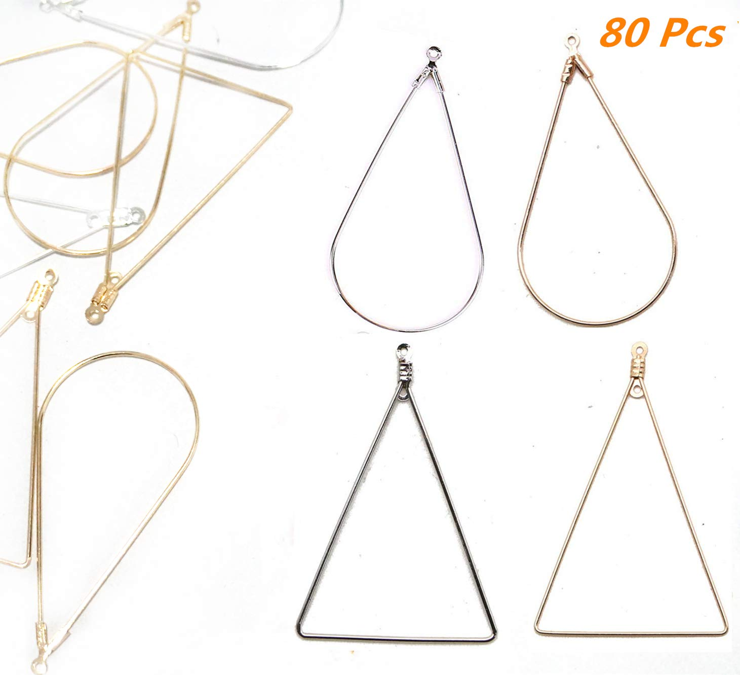 Gold//Silver Xinhongo 80 Pcs Teardrop and Triangle Beading Hoop Earring Finding with Loop Jewelry Finding for Earring Jewelry Making Earring DIY Craft 80