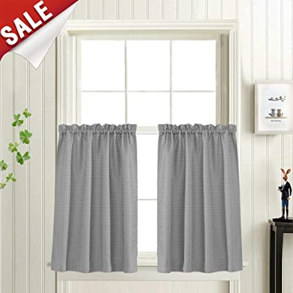 Waffle Woven Half Window Curtains For Bathroom Waterproof Kitchen Window Treatment Set 72 By 36 Inch Grey One Pair
