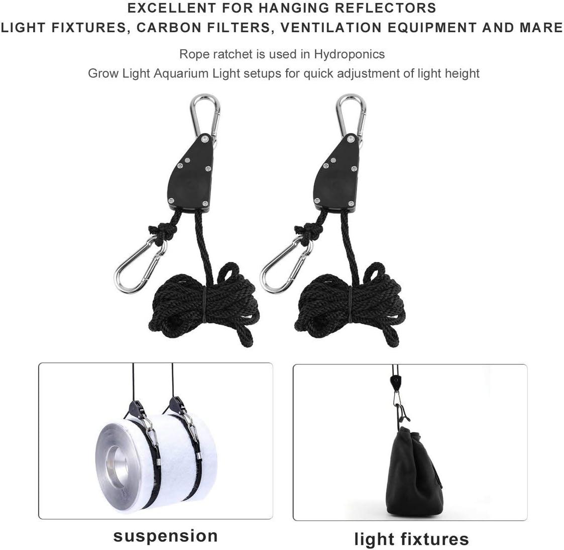 schwarz 73JohnPol 1 para 1//4 /£ Kleiderb/ügel Seil Ratsche 150Kg Last f/ür Aquarium LED Pflanze Wachsen Zelt Raumventilator Kohlefilter Wachsen Licht