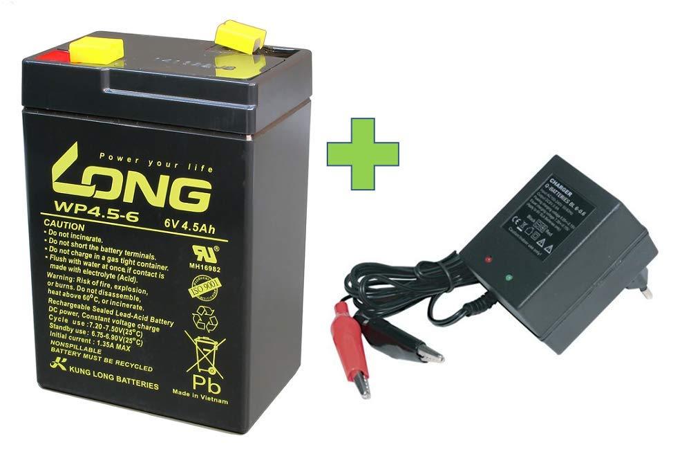 AGM BLEI Batería 6 V 4,5 Ah Compatible para vehículos ...