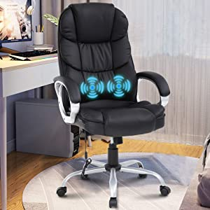Home Office Chair Ergonomic Executive Chair Computer Chair Adjustable Desk Chair PU Leather Chair with Lumbar Support Armrest Swivel Rolling High Back Task Chair for Heavy People, Big and Tall