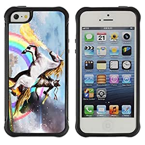 Hybrid Anti-Shock Defend Case for Apple iPhone 5 5S / Cat, Unicorn, Rainbow LOL MEME WTF