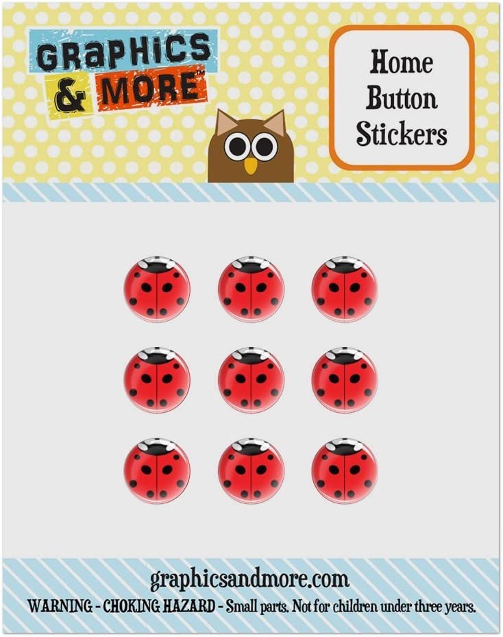 Set of 9 Puffy Bubble Home Button Stickers Fit Apple iPod Touch, iPad Air Mini, iPhone 4/4s 5/5c/5s 6/6s Plus - Insects Ladybug Butterfly Dragonfly - Ladybug Insect