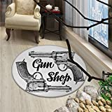 Western Round Rug Kid Carpet Modern Western Movies Cowboy Texas Times Sketchy Style Two Guns PistolsOriental Floor and Carpets Black Pale Grey