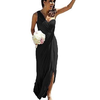 ccc82e7e95c Fair Lady Side Split One Shoulder Bridesmaid Dresses Long Pleat Chiffon  Wedding Party Gowns Black