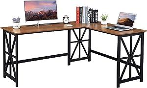 GreenForest Large L Shaped Computer Desk,63.8'' x 50'' Corner Desk Reversible Gaming Desk for Home Office Industrial Heavy Duty Workstation, Walnut