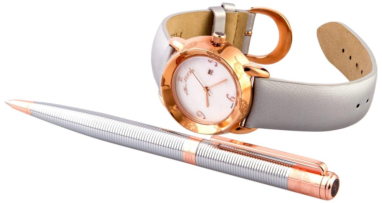 Helveco Damen-Armbanduhr Geschenk-Set Flora Analog Quarz Leder 4250637915642