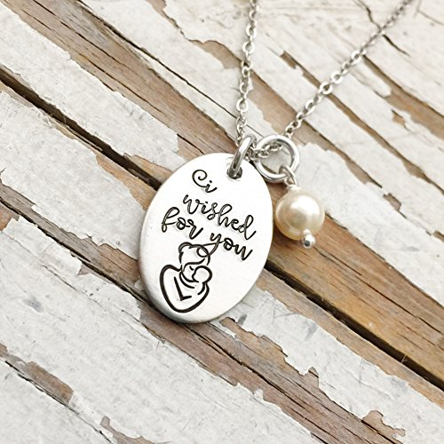 - I Wished for you Necklace Mother's Day Gift Oval Pendant Hand Stamped Jewelry