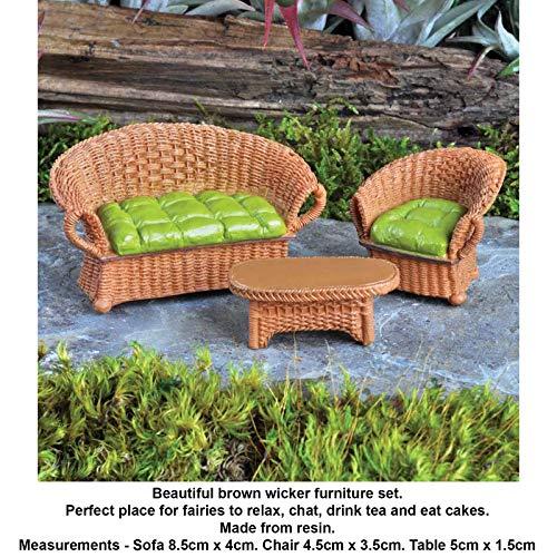 Resincraft Wicker Furniture Set Brown Ornaments Indoor Outdoor Miniature Fairy Garden Accessories Ideas Kits - Dollhouse Wicker Furniture