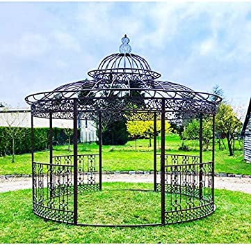 Gran carpa Kiosko de jardín pérgola refugio redonda de hierro ...