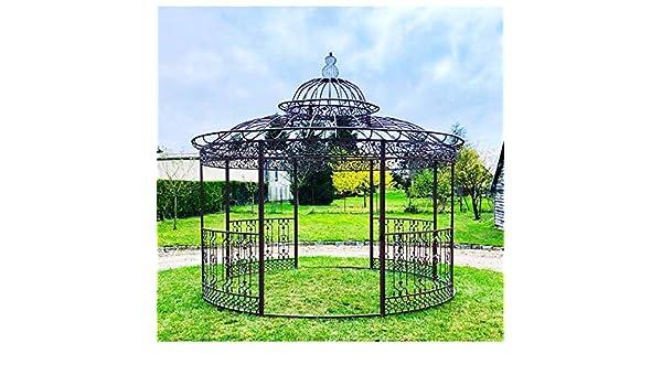 Gran carpa Kiosko de jardín pérgola refugio redonda de hierro marrón 340 x 370 x 370 cm: Amazon.es: Jardín