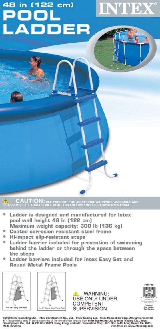 Intex 28062 - Escalera para Piscina (122 cm, Acero Inoxidable, Tres peldaños): Intex 12-58974 Leiter ohne Plattform für Pools mit 122 cm Höhe: Amazon.es: Jardín