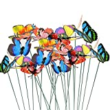 Topix Butterfly Garden Ornaments & Patio Decor Butterfly Party Supplies for Garden Yard Planter Colorful Whimsical Butterfly Stakes (48
