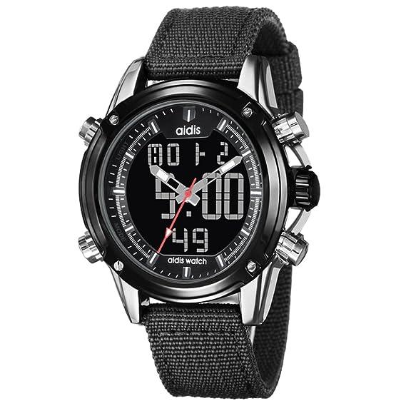 Reloj deportivo para hombre,Tabla Relojes electrónicos Profundidad resistente al agua de 30 m Cronómetro cronógrafo Pantalla doble Luminoso Aire libre ...