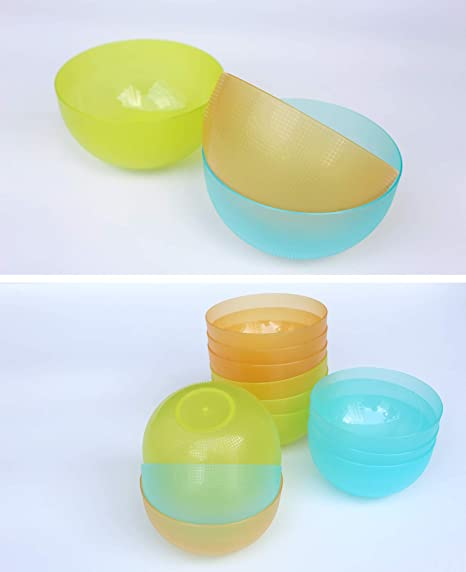 Amazon.com | 22 oz Plastic Cereal/Soup Bowls, Set of 12 in 3 Assorted Colors, Unbreakable and Flexible, Lime Green/Aqua Blue/Orange, Honla: Cereal Bowls