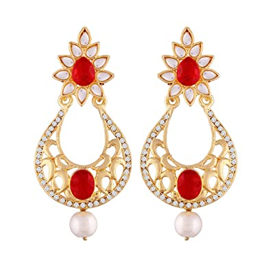 I Jewels Gold Plated Chandelier Earrings For Women E2347M (Red ...