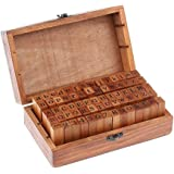 U HOME 70pcs Alphabet Stamps Vintage Wooden Rubber Letter Number And Symbol Stamp Set For DIY Craft Card Making Happy…