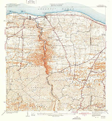 YellowMaps Camuy PR topo map, 1:30000 Scale, 7.5 X 7.5 Minute, Historical, 1942, 21.2 x 19.6 in - Tyvek ()