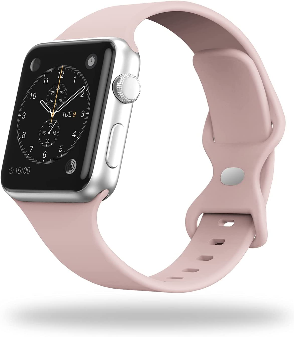 STG Smart Watch Band Compatible with Apple Watch Band 38mm 40mm 42mm 44mm, Soft Silicone Replacement Sport Strap Compatible for iWatch SE Series 6/5/4/3/2/1 (42/44mm, Pink Sand)