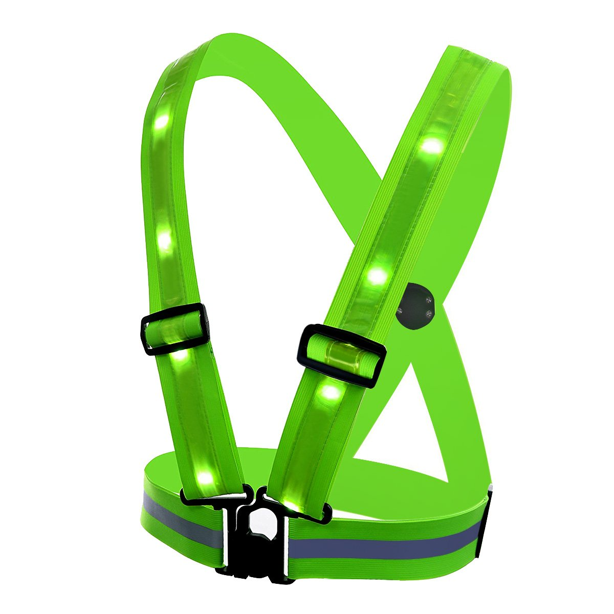 Adjustable Size Universal 360 Degree High Visibility Night Safety Vest 3 Modes USB Rechargeable LED Light /& Reflective Stripes TAGVO LED Reflective Vest