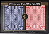 Blue & Red Premium Plastic Playing Cards, Set of 2, Poker Size Deck
