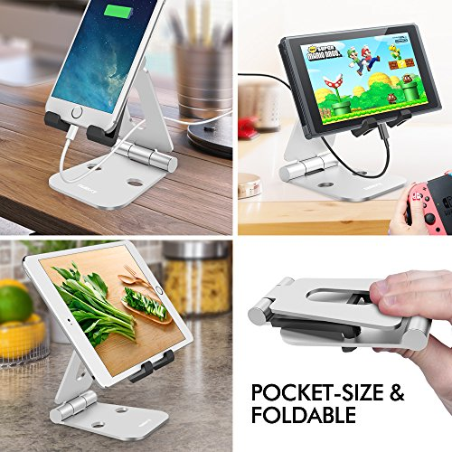 Nulaxy Foldable Aluminum Stand Multi-Angle Stand for Nintendo Switch, iPhones, iPad Universal for All Other Tablets Phones – Silver [video game]