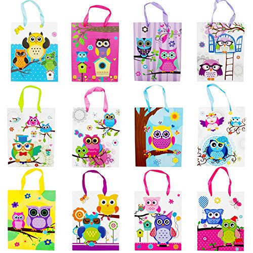 12 Medium Owl Design Party Gift Bags, Birthday Gift Bags - Set of 12 Happy Birthday Gift Bags -