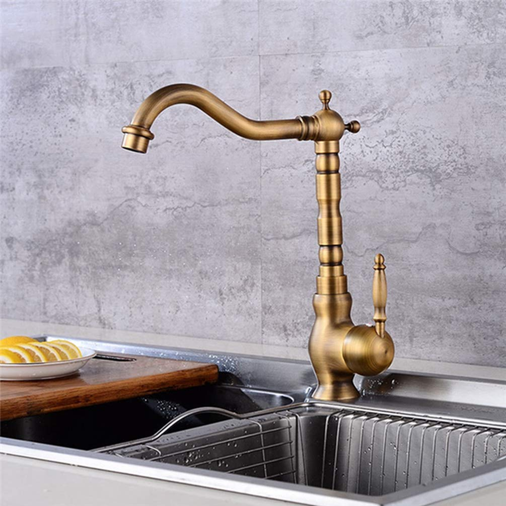 FZHLR Kitchen Faucet Antique Brass Deck Mounted Single Handle Vanity Sink Hot And Cold Mixer Tap Ceramic Valve Kitchen Crane 360 Degree Swivel