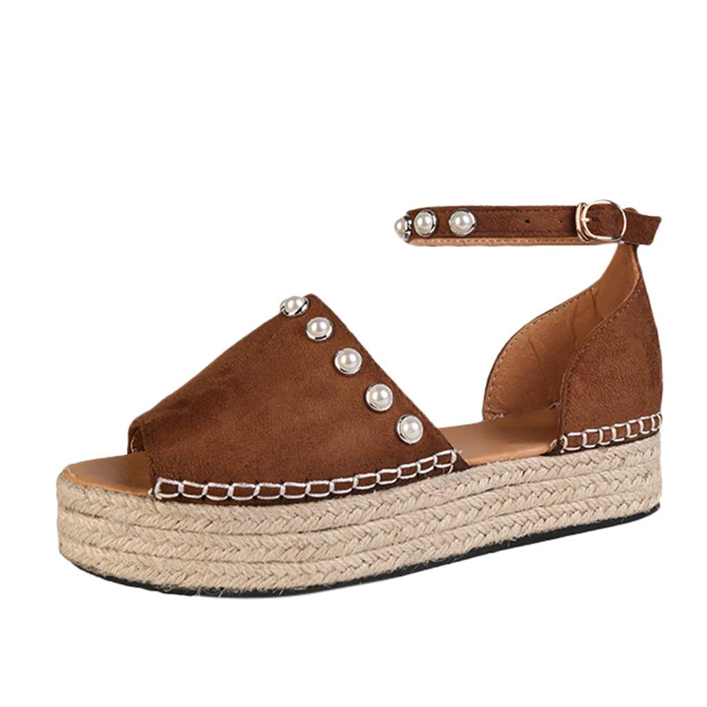 SSYongxia❤ Women's Open Toe Ankle Strap Espadrille Sandal Buckle Faux Leather Studded Wedge Summer Sandals Brown