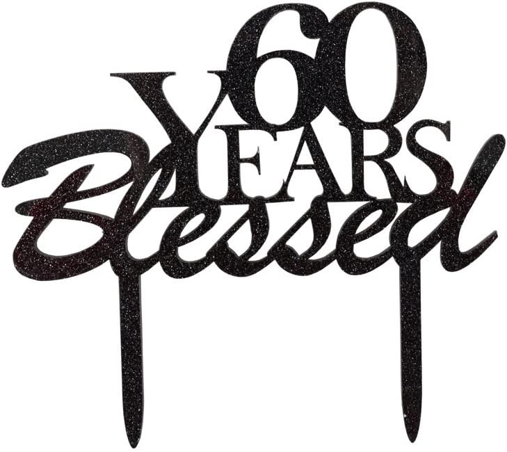 60 Years Blessed Cake Topper, 60th Birthday Party Decorations, 60th Wedding Anniversary Party Sign-Black Color