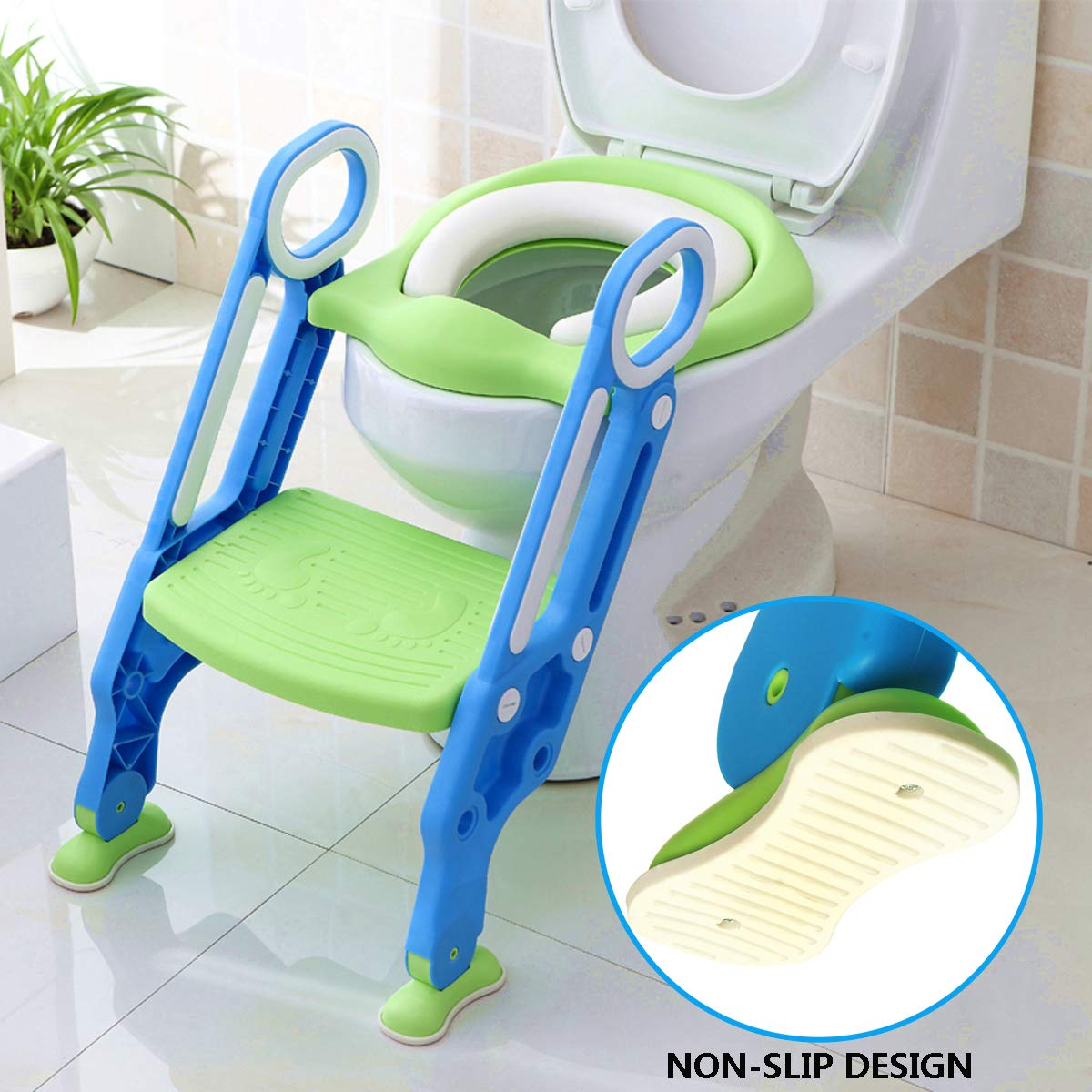 KingSo Children Potty Toilet Trainer Seat with Sturdy & Non-Slip Step Stool Ladder, Adjustable Toddler Toilet Seat for Boys and Girls by KingSo