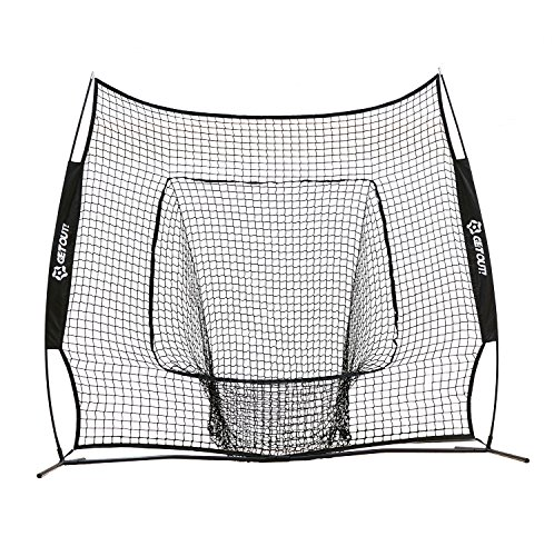 Get Out Portable 7 x 7 Feet Baseball Softball Practice Hitting, Pitching, Fielding Target Net with Free Strike Zone