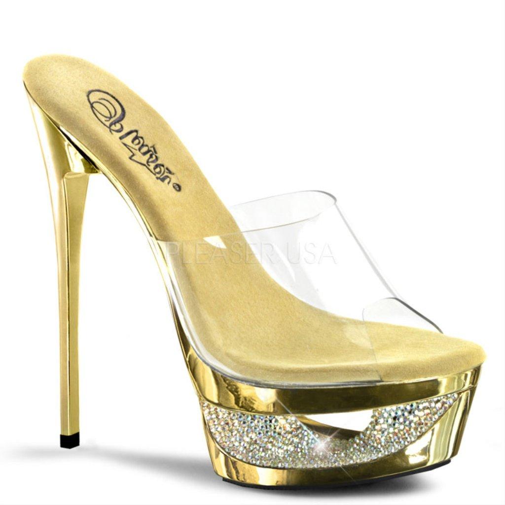 Pleaser Women's Eclipse 601DM Slide Fashion Sandals B00B472ILM 10 B(M) US|Clear, Gold Chrome