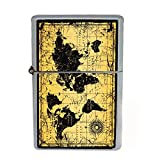 Wind Proof Dual Torch Refillable Lighter Vintage Poster D-012 World Map Antique Vintage Old Style Decorative Educational