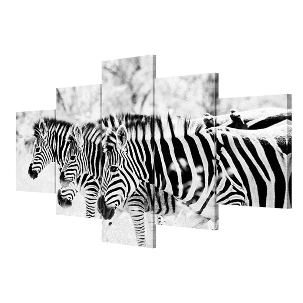 Giclée-Druck Extra große Leinwand Schwarz-Weiß Zebra Leinwand Nordic Wohnzimmer Wanddekoration (5 Blätter   Set) , With Borders , GrößeA B076PC5V2C | Qualität zuerst