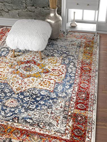 Well Woven Amestris Blue Red Modern Heriz Vintage Distressed Medallion Area Rug 8×11 7 10 x 9 10 Persian Oriental Carpet