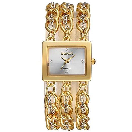 Hermosos Relojes de Moda Reloj de Pulsera de Cuadrados WEIQIN señoras Reloj Reloj de Oro: Amazon.es: Relojes