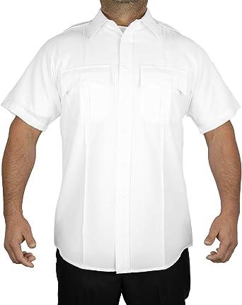 First Class Primera Clase 100% poliéster Manga Corta Hombres Camisa de Uniforme Color Blanco