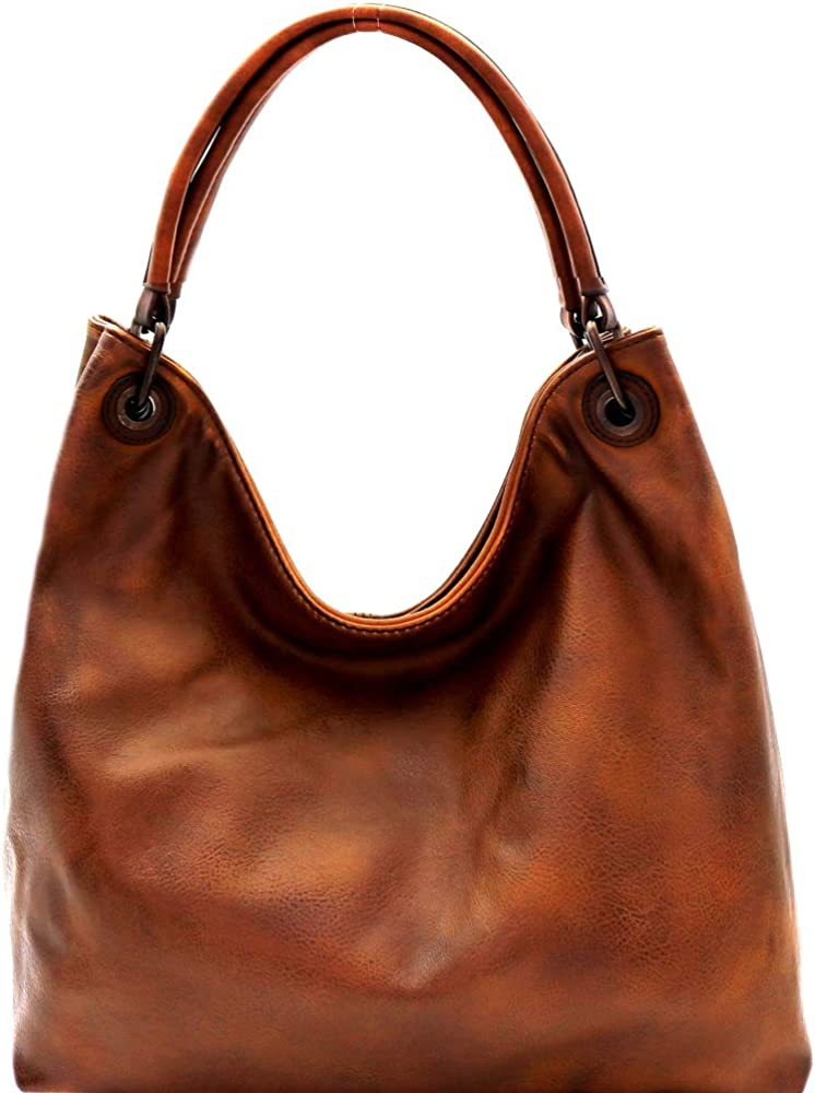 Large Slouchy Hobo Handbags Vegan Leather Purse Shoulder Vintage Bucket Bag