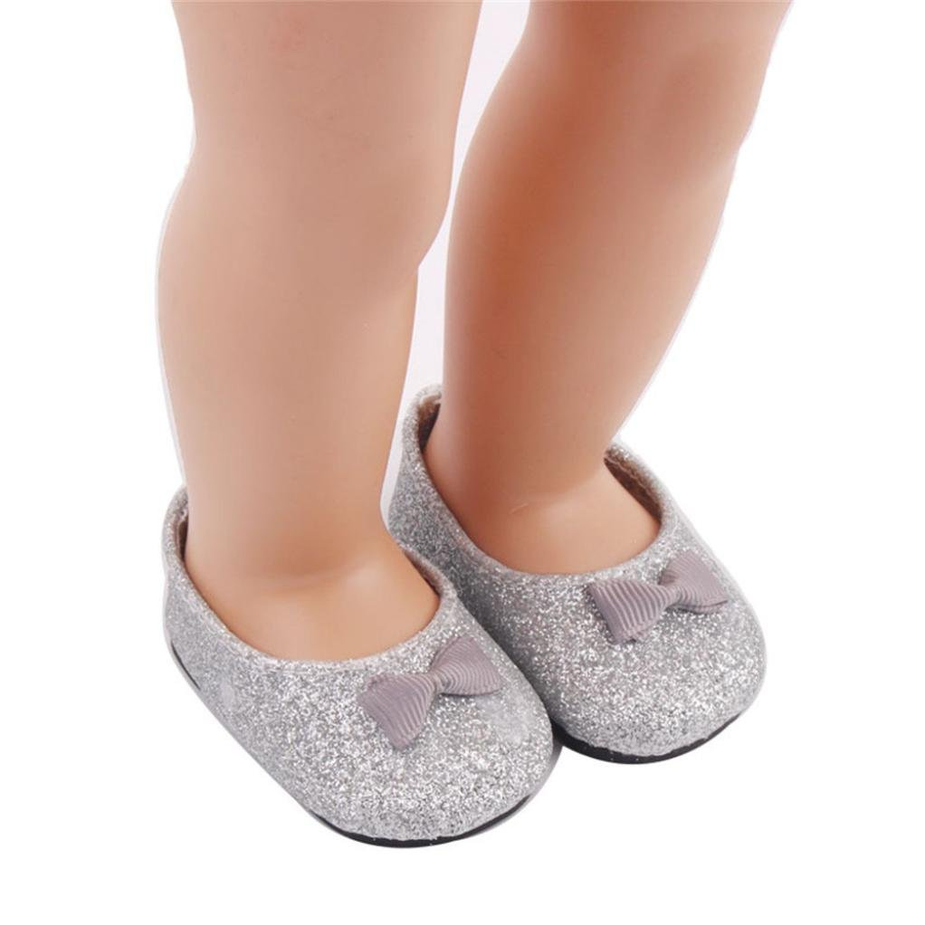 OSYARD Doll Shoes Bowknot Dress Shoe For 18 Inch Our Generation American Girl (Silver)