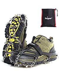 Traction Cleats Ice Snow Grips with 18 Spikes for Walking, Jogging, Climbing and Hiking