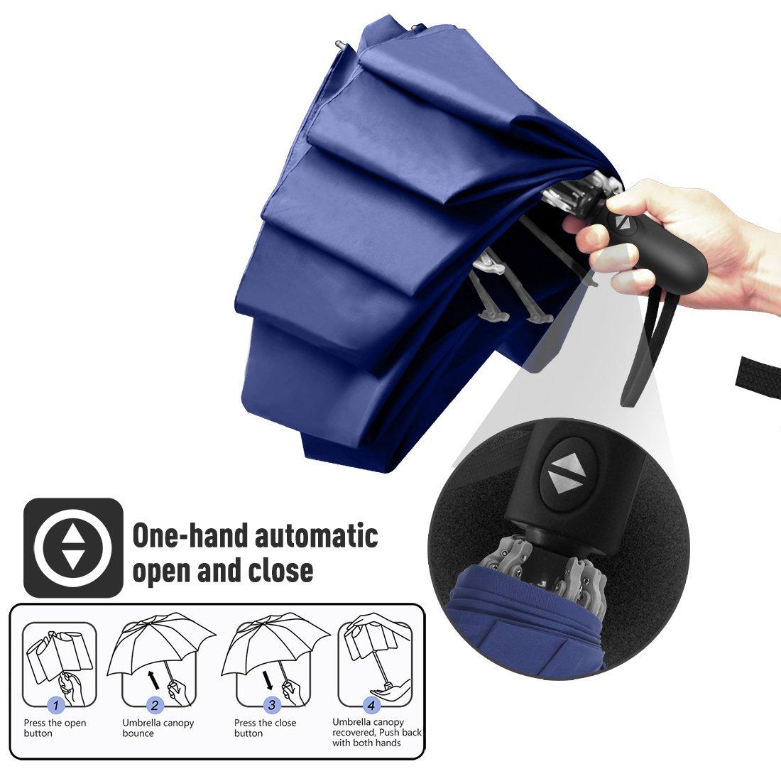 Nesus Umbrella Windproof Travel Umbrella 8 Ribs Auto Open Close with Waterproof Canopy Compact Folding Reverse Umbrella(Blue) by Nesus (Image #3)