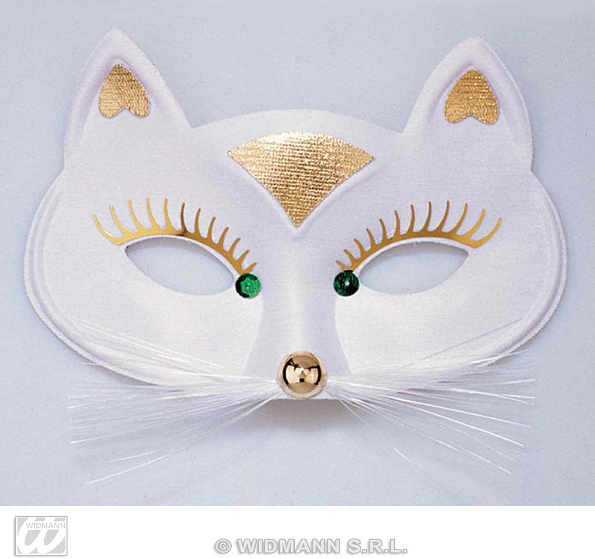 MASQUERADE WHITE CAT DOMINO EYE MASK Womens Fancy Dress Costume Accessory