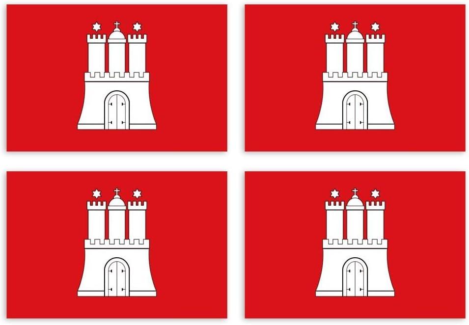 Kiwistar Aufkleber 4 5 X 2 7 Cm Hamburg Bundesland Autoaufkleber Deutschland Flagge Länder Wappen Fahne Sticker Kennzeichen Auto