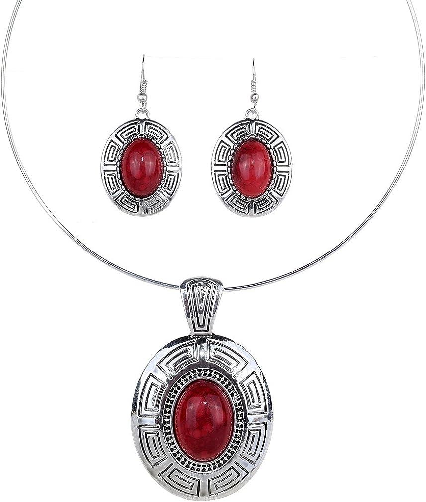YAZILIND Plata Tibetano étnico Declaración Oval Rojo Turquesa Colgante Pendientes Collar Babero de la joyería
